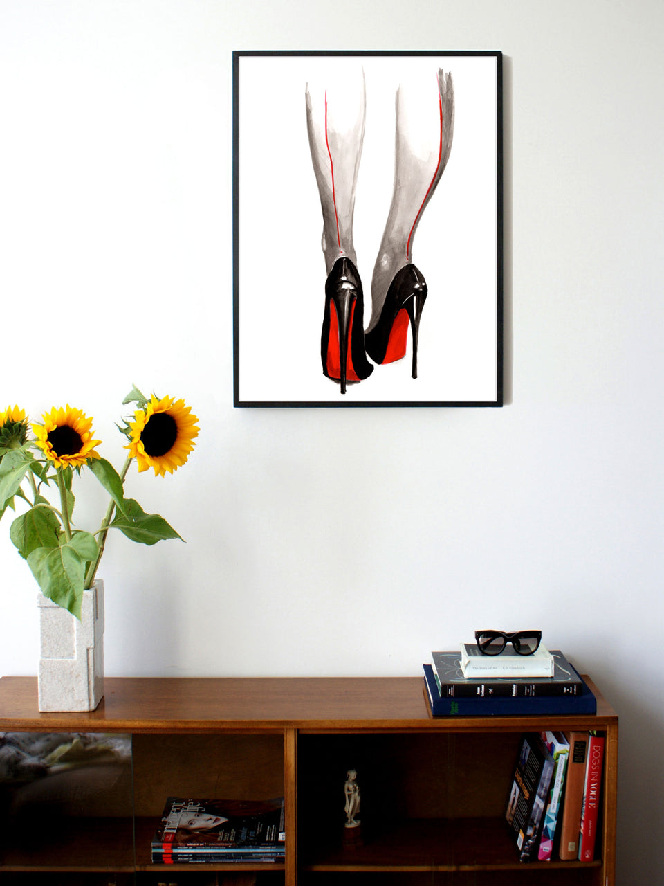 Fashion illustration print of Heels by Sjoukje Bierma - woman in Louboutin stilettos and seamed stockings - 60 x 80 cm framed
