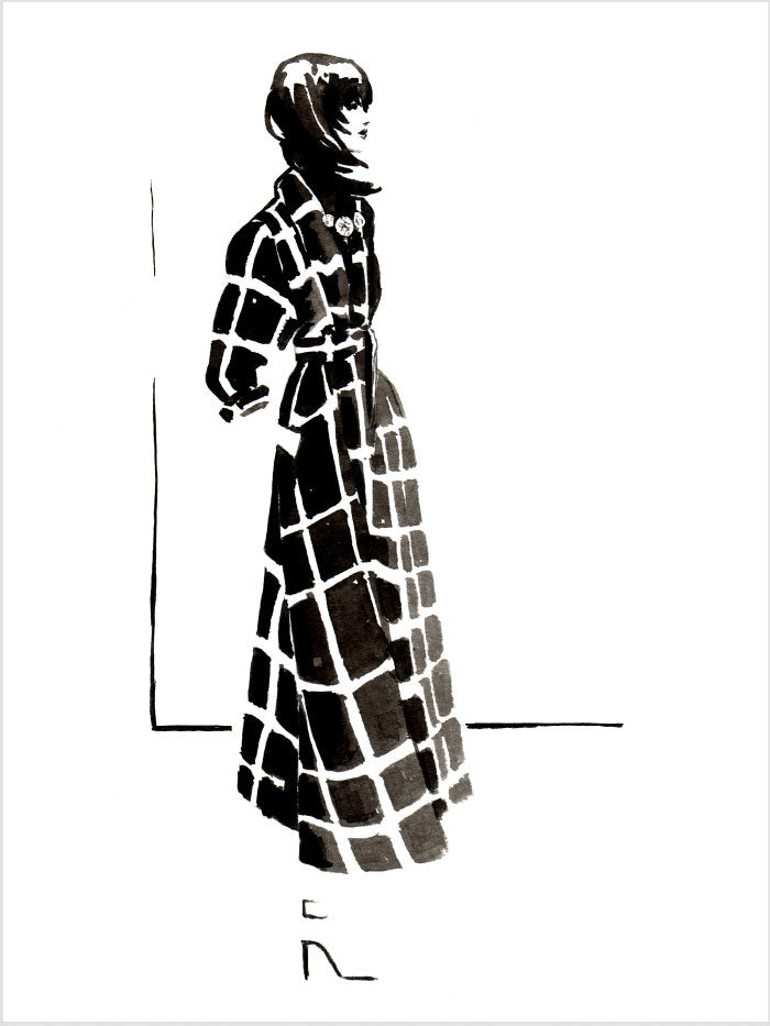 Fashion illustration print of Lanvin '15 by Sjoukje Bierma - woman in check coat