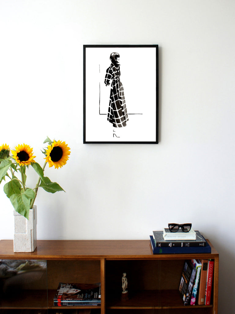 Fashion illustration print of Lanvin '15 by Sjoukje Bierma - woman in check coat - 45 x 60 cm framed