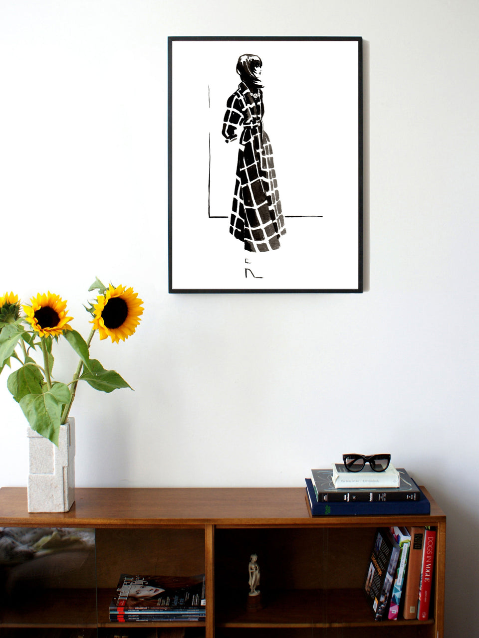Fashion illustration print of Lanvin '15 by Sjoukje Bierma - woman in check coat - 60 x 80 cm framed