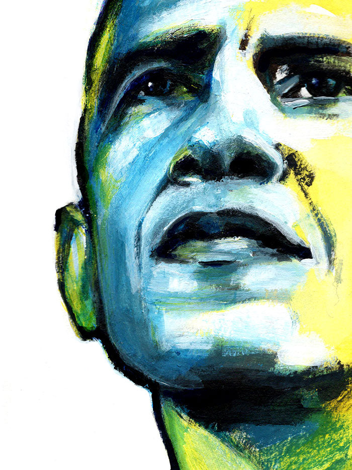 Fashion illustration print of Obama by Sjoukje Bierma - President Barack Obama - detail of eyes