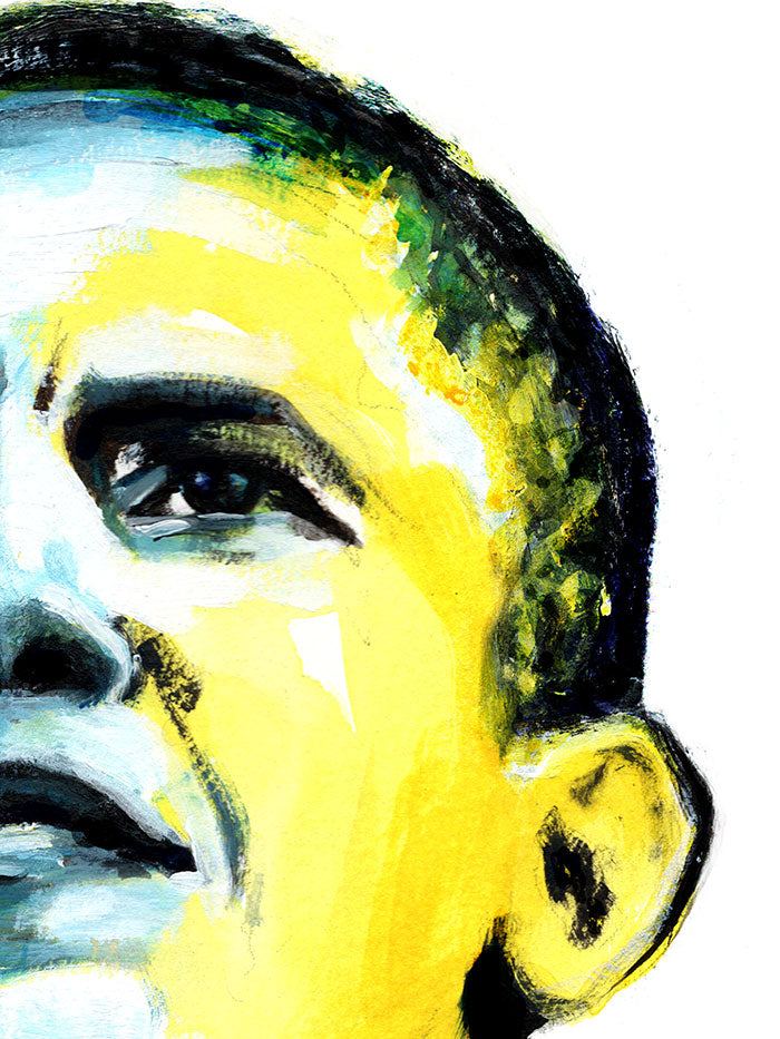 Fashion illustration print of Obama by Sjoukje Bierma - President Barack Obama - detail of left eye