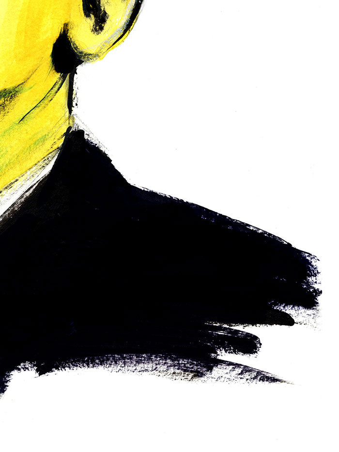 Fashion illustration print of Obama by Sjoukje Bierma - President Barack Obama - detail of shoulder