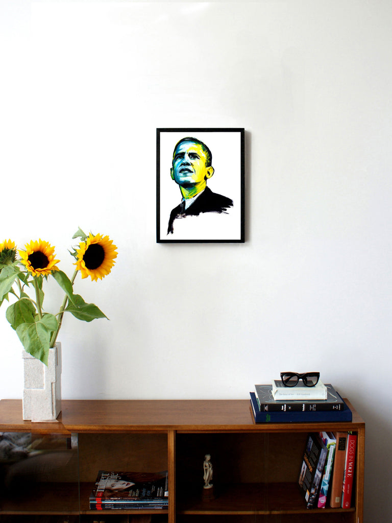 Fashion illustration print of Obama by Sjoukje Bierma - President Barack Obama - 30 x 40 cm framed