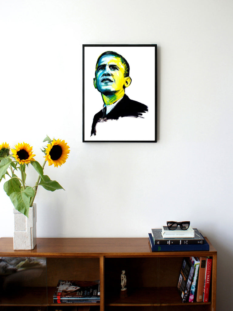 Fashion illustration print of Obama by Sjoukje Bierma - President Barack Obama - 45 x 60 cm framed