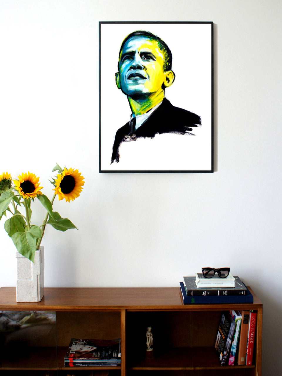 Fashion illustration print of Obama by Sjoukje Bierma - President Barack Obama - 60 x 80 cm framed