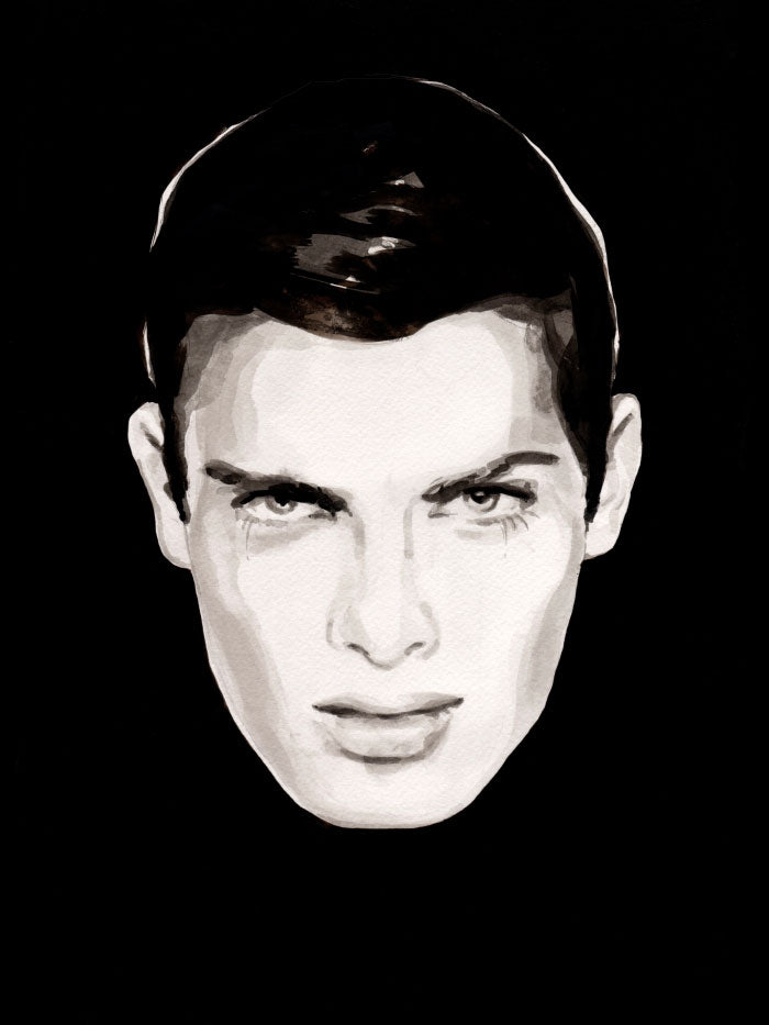 Fashion illustration print of Oh! You Pretty Thing by Sjoukje Bierma - portrait of a man with black hair