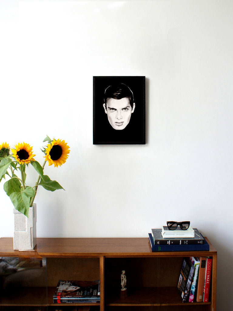 Fashion illustration print of Oh! You Pretty Thing by Sjoukje Bierma - portrait of a man with black hair - 30 x 40 cm framed