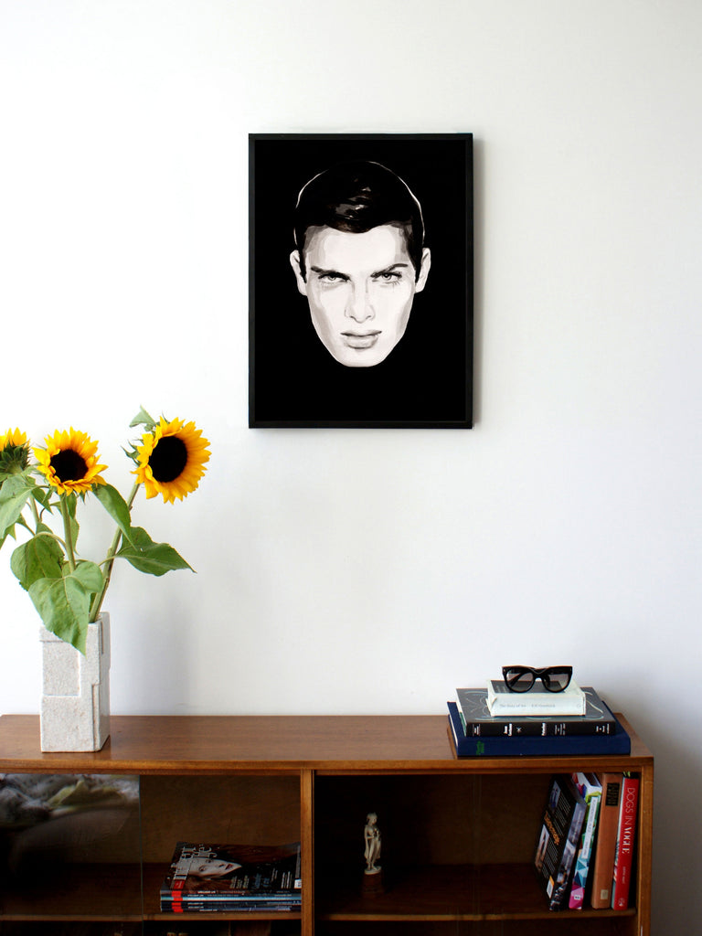 Fashion illustration print of Oh! You Pretty Thing by Sjoukje Bierma - portrait of a man with black hair - 45 x 60 cm framed