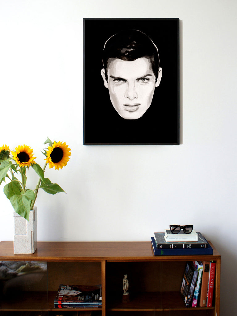 Fashion illustration print of Oh! You Pretty Thing by Sjoukje Bierma - portrait of a man with black hair - 60 x 80 cm framed