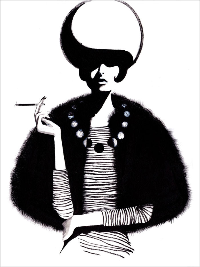 Fashion illustration print of Pearls by Sjoukje Bierma - woman with cigarette and necklace