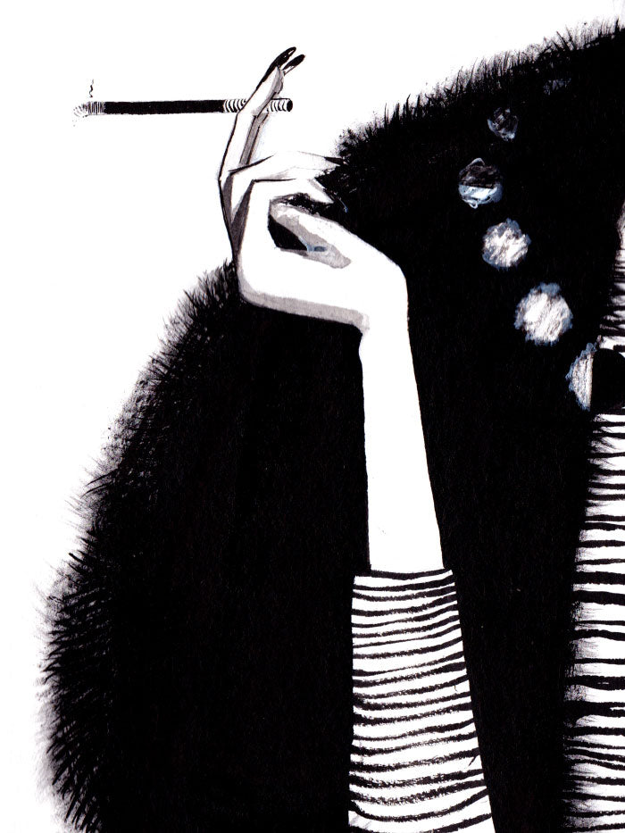 Fashion illustration print of Pearls by Sjoukje Bierma - woman with cigarette and necklace - detail of right hand and cigarette