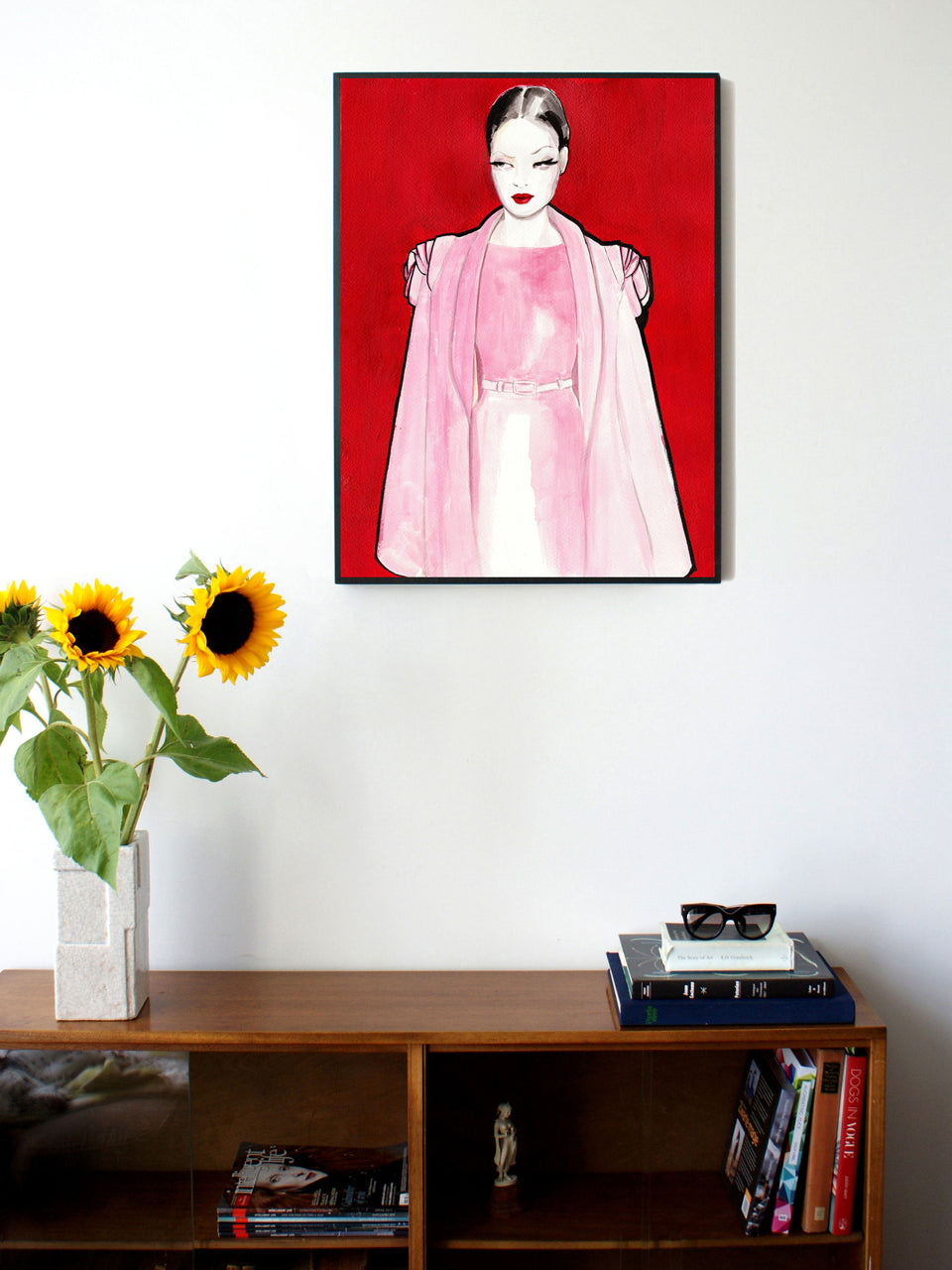 Fashion illustration print of Pink by Sjoukje Bierma - woman in dress and cape - 60 x 80 cm framed
