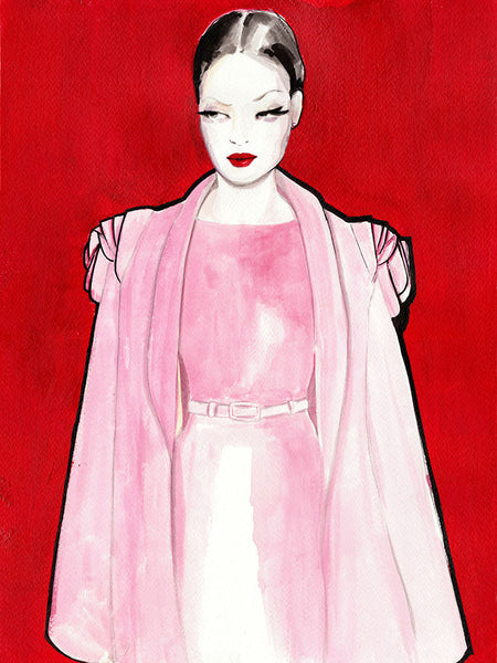 Fashion illustration print of Pink by Sjoukje Bierma - woman in dress and cape