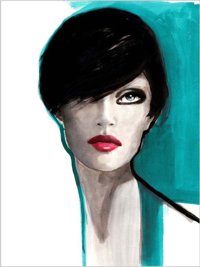 Fashion illustration print of Portrait Blue by Sjoukje Bierma - portrait of a woman