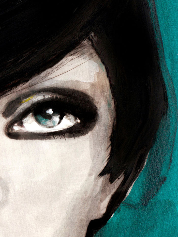 Fashion illustration print of Portrait Blue by Sjoukje Bierma - portrait of a woman - detail of left eye