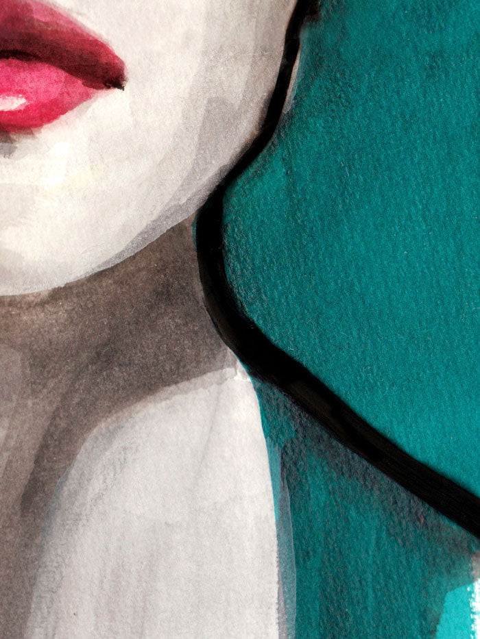 Fashion illustration print of Portrait Blue by Sjoukje Bierma - portrait of a woman - detail of jaw