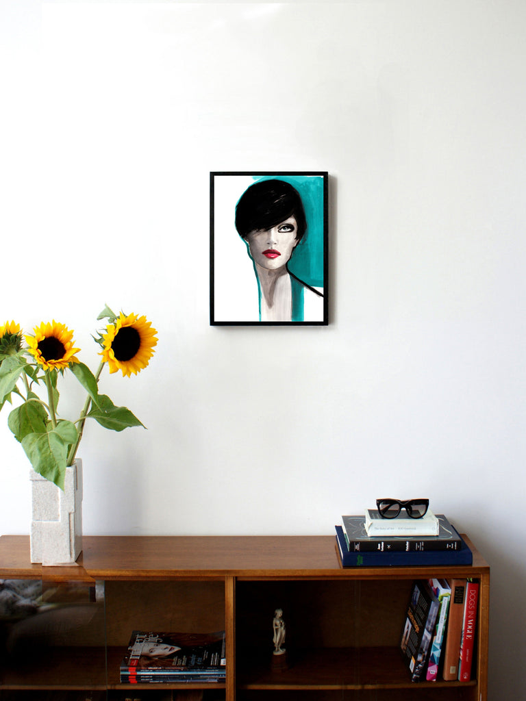 Fashion illustration print of Portrait Blue by Sjoukje Bierma - portrait of a woman - 30 x 40 cm framed
