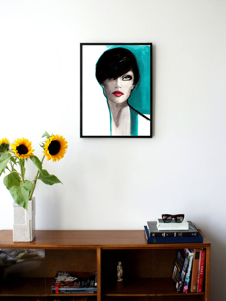 Fashion illustration print of Portrait Blue by Sjoukje Bierma - portrait of a woman - 45 x 60 cm framed