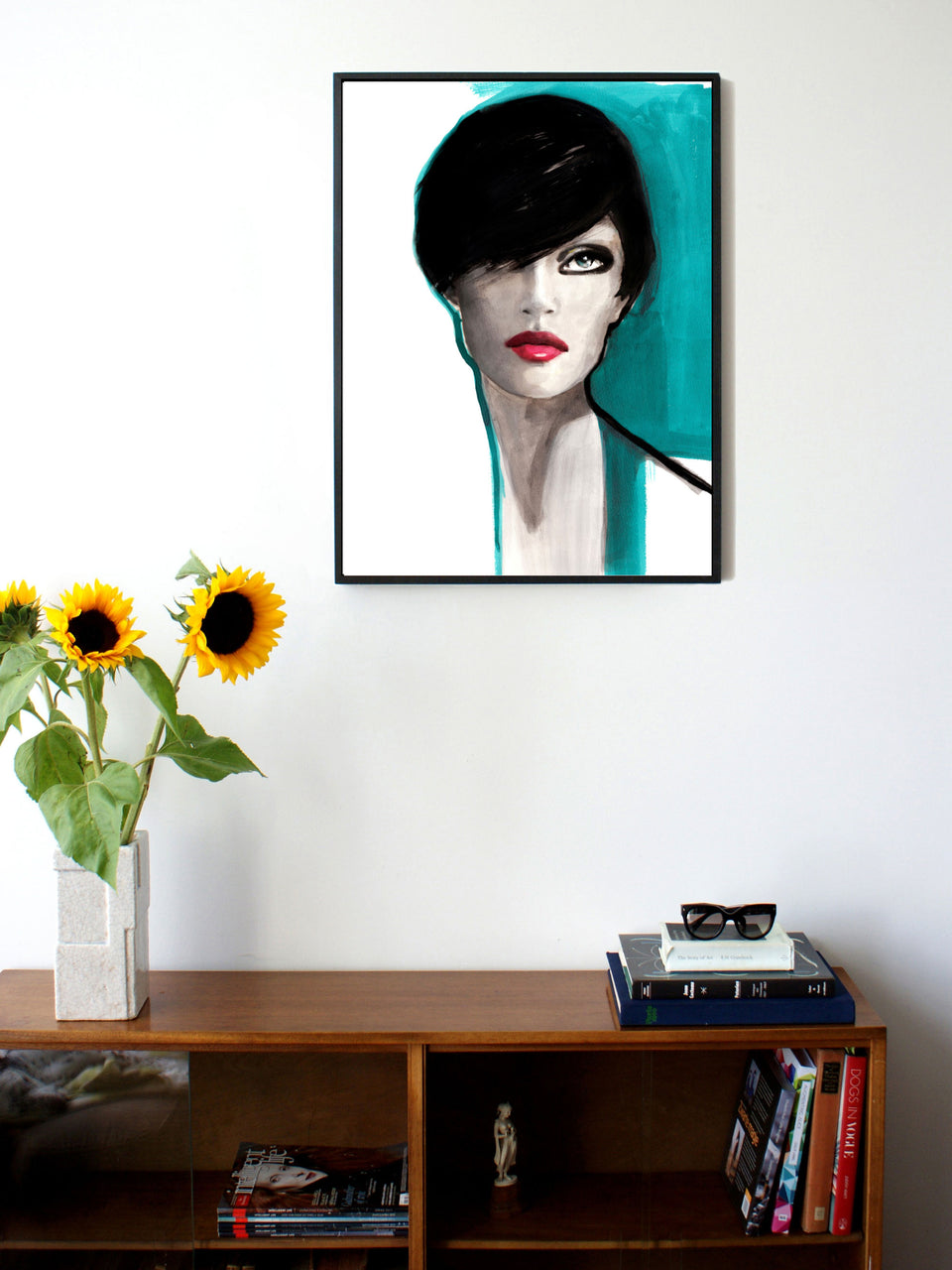 Fashion illustration print of Portrait Blue by Sjoukje Bierma - portrait of a woman - 60 x 80 cm framed