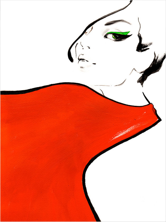 Fashion illustration print of Red Scarf by Sjoukje Bierma - woman with scarf