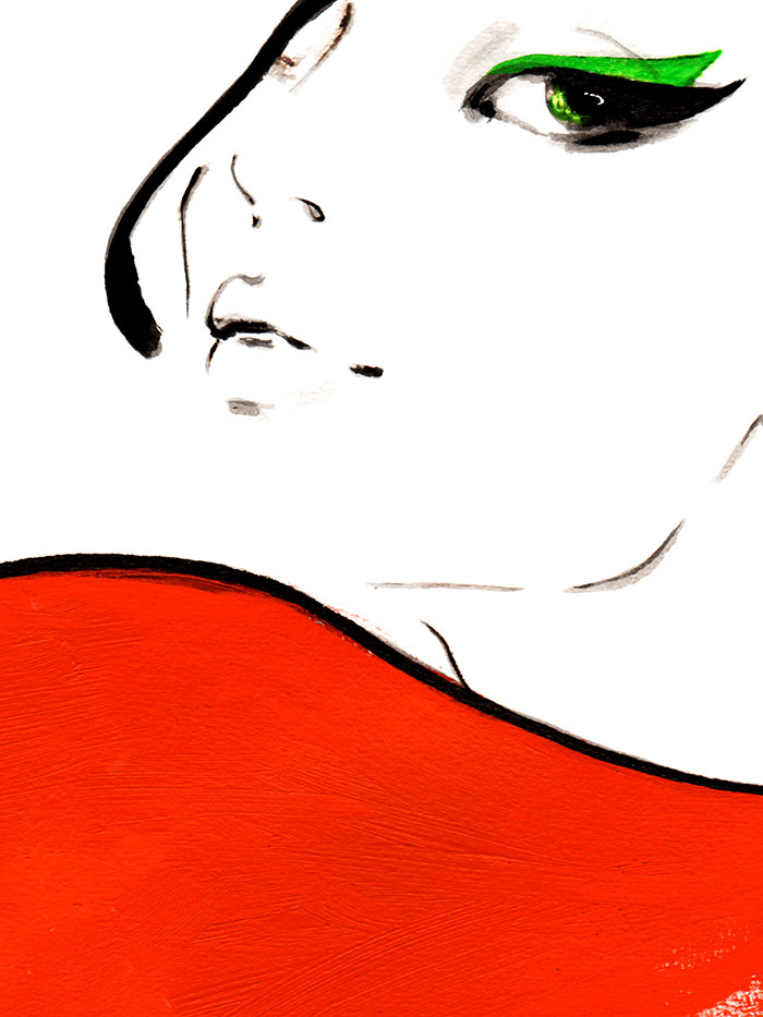 Fashion illustration print of Red Scarf by Sjoukje Bierma - woman with scarf - detail of face