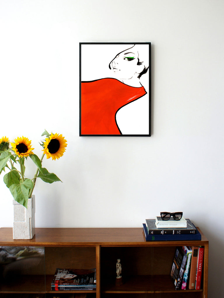 Fashion illustration print of Red Scarf by Sjoukje Bierma - woman with scarf - 45 x 60 cm framed