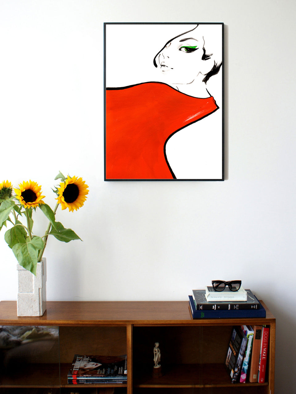 Fashion illustration print of Red Scarf by Sjoukje Bierma - woman with scarf - 60 x 80 cm framed
