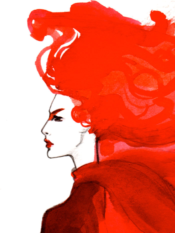 Fashion illustration print of Red by Sjoukje Bierma - woman in red - detail of face and hair