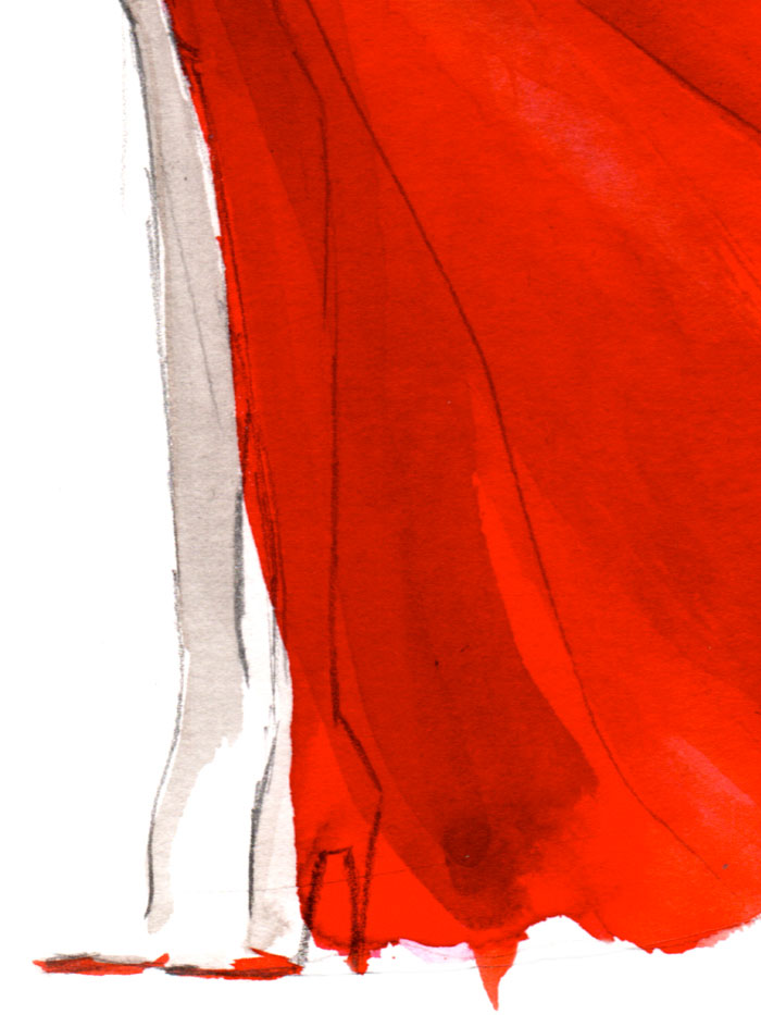 Fashion illustration print of Red by Sjoukje Bierma - woman in red - detail of legs and feet