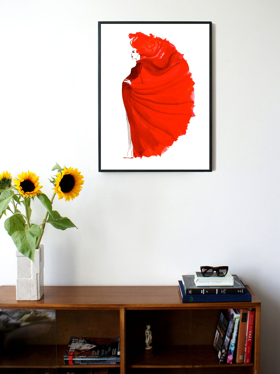 Fashion illustration print of Red by Sjoukje Bierma - woman in red - 60 x 80 cm framed