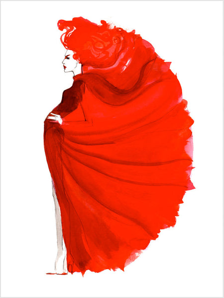 Fashion illustration print of Red by Sjoukje Bierma - woman in red