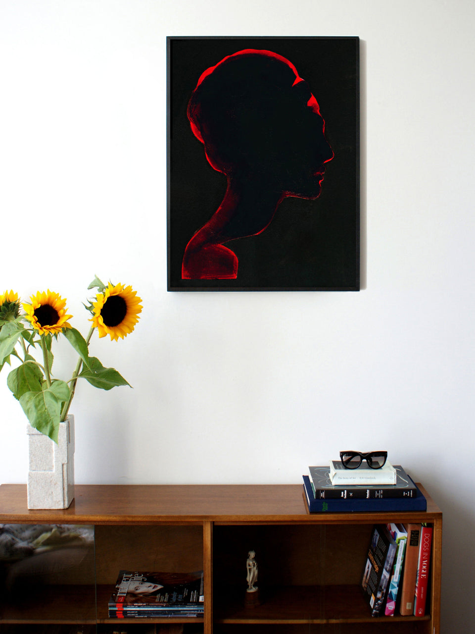 Fashion illustration print of Silhouette Black by Sjoukje Bierma - portrait of woman - 60 x 80 cm framed