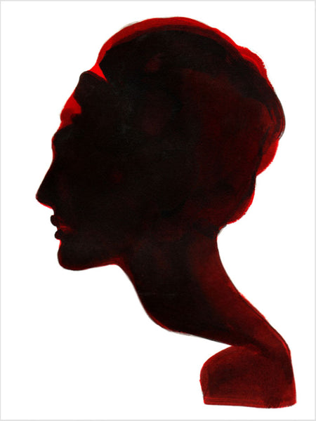 Fashion illustration print of Silhouette White by Sjoukje Bierma - portrait of woman
