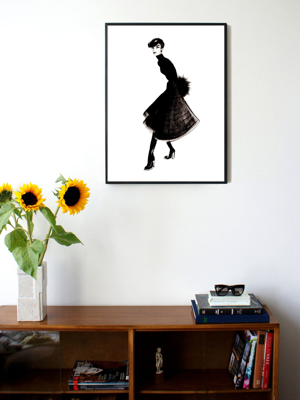 Fashion illustration print of Skirt by Sjoukje Bierma - woman in dark plaid skirt - 60 x 80 cm framed