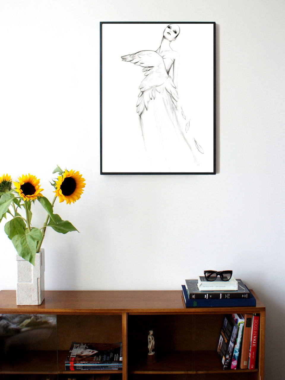 Fashion illustration print of Swan by Sjoukje Bierma - woman in swan-wing dress - 60 x 80 cm framed