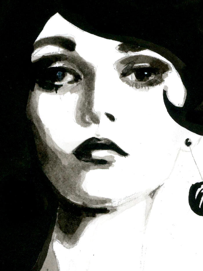 Fashion illustration print of Twin-set by Sjoukje Bierma - woman walking - detail of face and hair