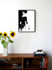 Fashion illustration print of Twin-set by Sjoukje Bierma - woman walking - 45 x 60 cm framed