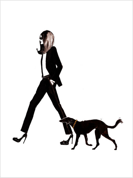 Fashion illustration print of YSL & Dog by Sjoukje Bierma - woman in Le Smoking with dog