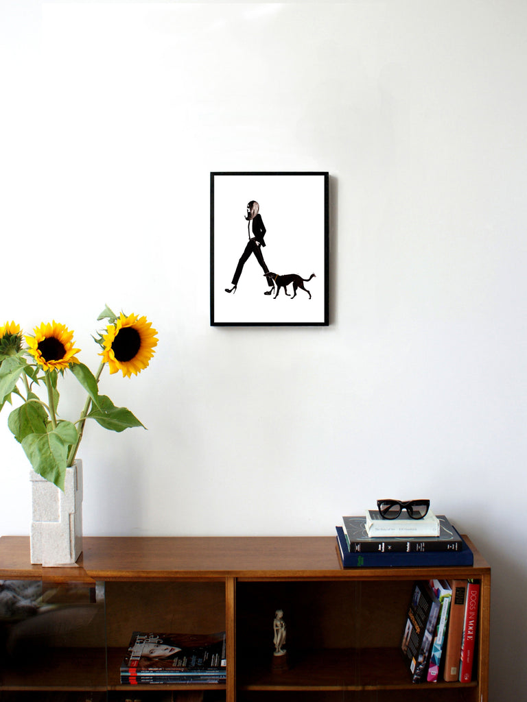 Fashion illustration print of YSL & Dog by Sjoukje Bierma - woman in Le Smoking with dog - 30 x 40 cm framed