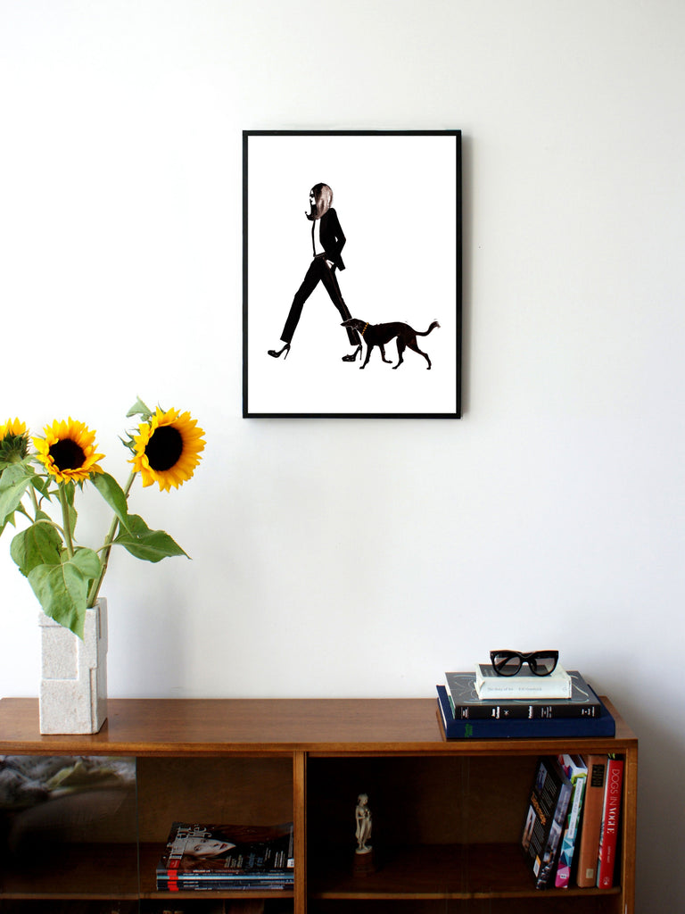 Fashion illustration print of YSL & Dog by Sjoukje Bierma - woman in Le Smoking with dog - 45 x 60 cm framed
