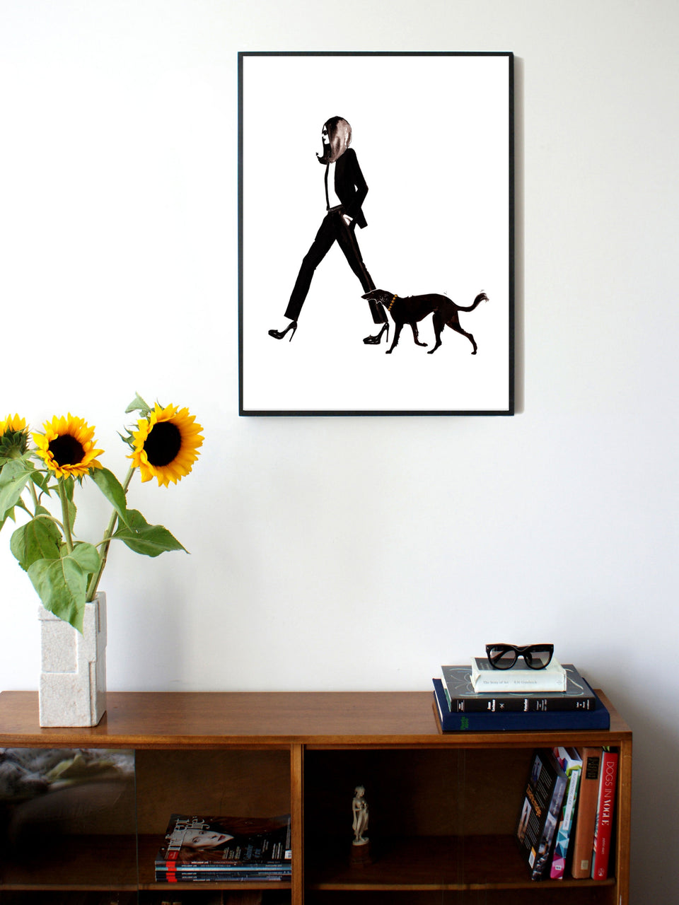 Fashion illustration print of YSL & Dog by Sjoukje Bierma - woman in Le Smoking with dog - 60 x 80 cm framed