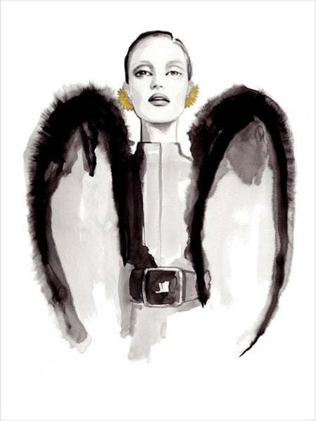 Fashion illustration print of YSL Wings by Sjoukje Bierma - woman with couture wings