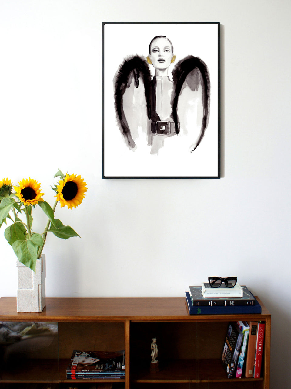 Fashion illustration print of YSL Wings by Sjoukje Bierma - woman with couture wings - 60 x 80 cm framed