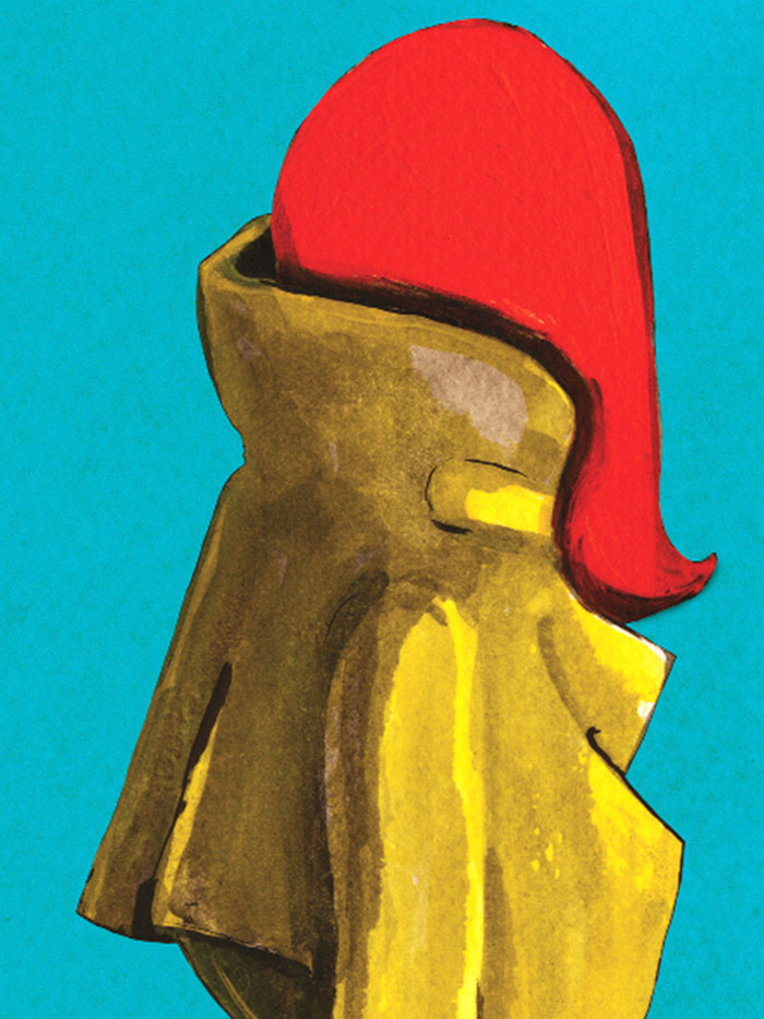 Fashion illustration print of Yellow Raincoat by Sjoukje Bierma - woman waiting - detail of collar and hair