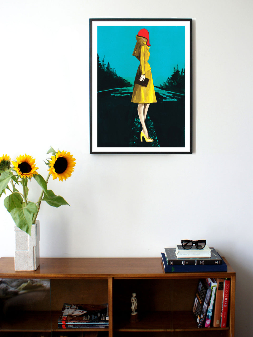 Fashion illustration print of Yellow Raincoat by Sjoukje Bierma - woman waiting - 60 x 80 cm framed