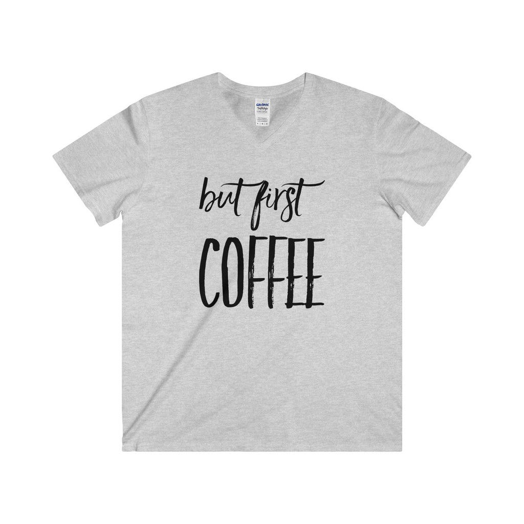 But First Coffee Unisex Fitted V-Neck Short Sleeve Tee