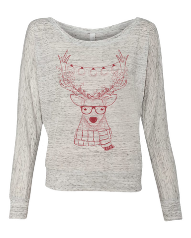 Hipster Reindeer with Lights Graphic Tee - Libby and Dot Collections