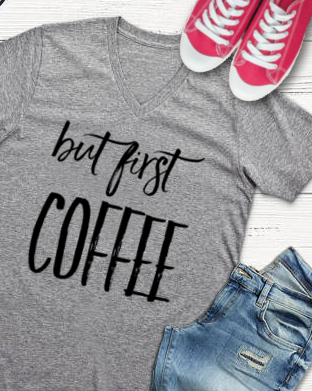 But First Coffee Unisex Fitted V-Neck Short Sleeve Tee - Libby and Dot Collections