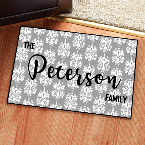 Personalized Damask Doormat Rug - Multiple Sizes Available - Libby and Dot Collections